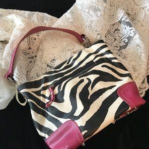 Handbags - Zebra print med bag trimmed in hot pink